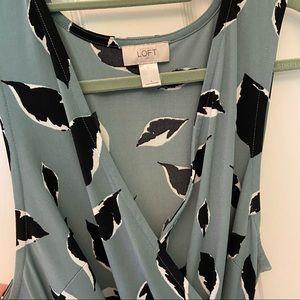 Loft sleeveless faux wrap dress
